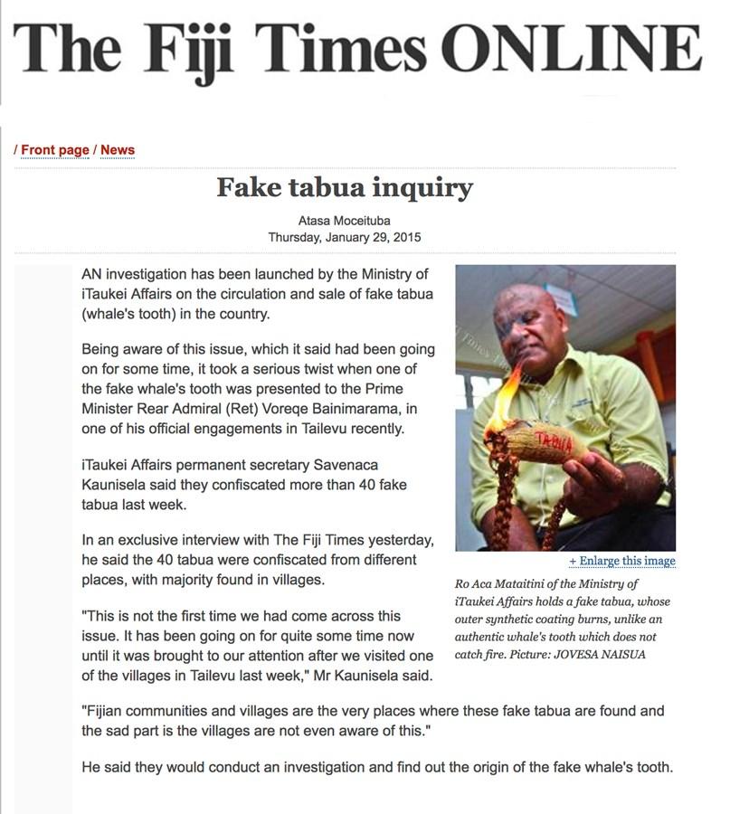 Fake Tabua in Fiji